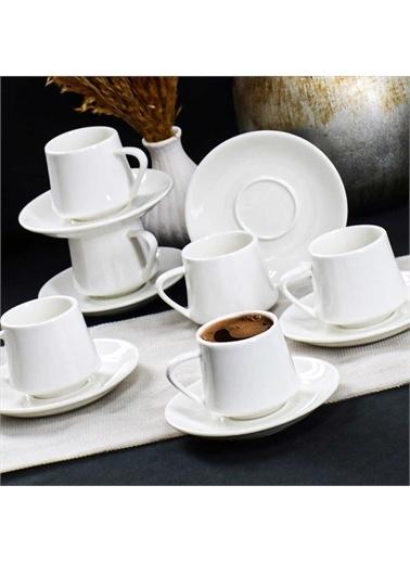 Acar PORJ-010129/12 Acar Porselen 6'Lı Beyaz Kahve Fincan Takımı Porj-010129/12 Renkli